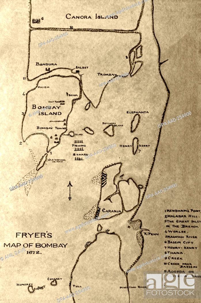 Mumbai On Map Of Asia.Old Vintage Map Of Fryer Mumbai Maharashtra India Asia Stock