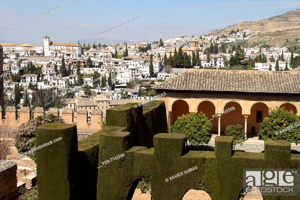 Stock Photo: Alhambra and Albaicin district in background, Granada. Andalucia, Spain.