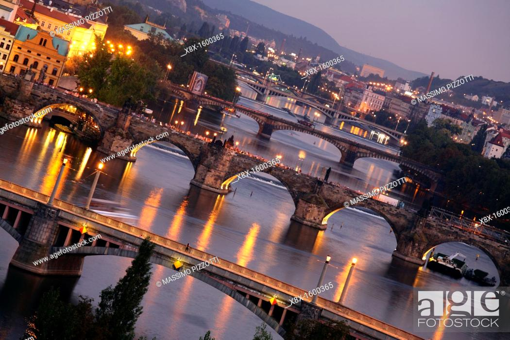 Stock Photo: View of the bridges over the Vltava river, Prague, CZ.