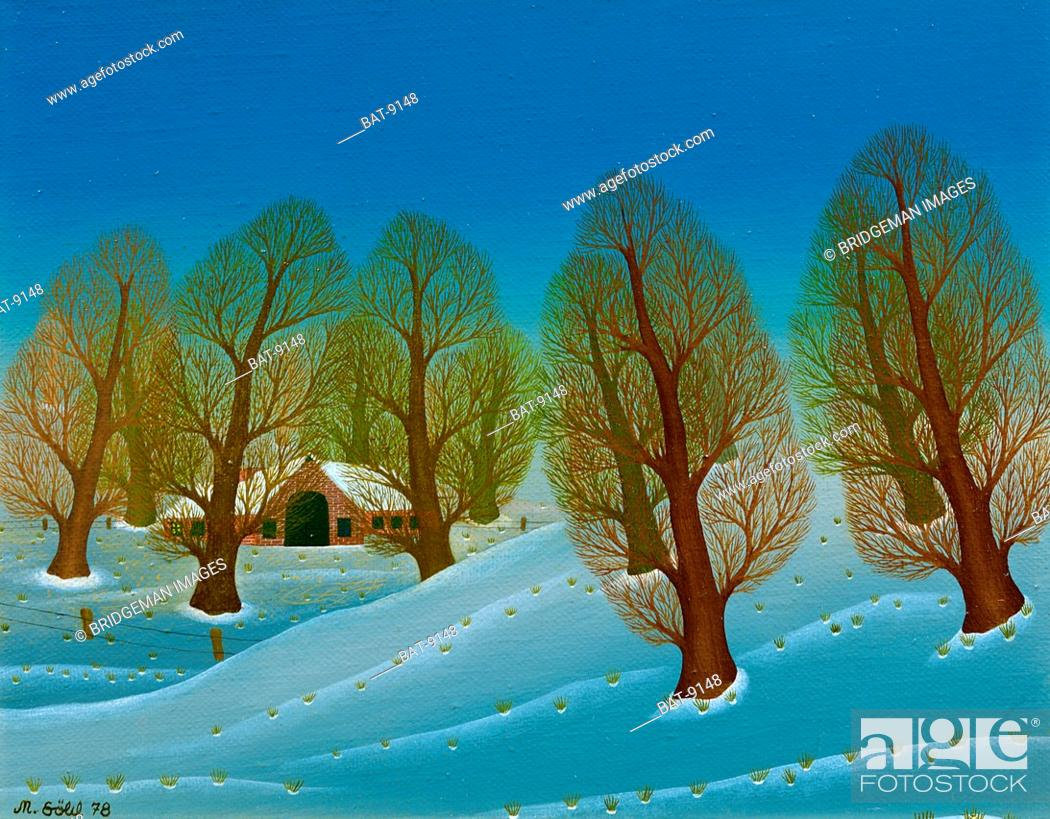 Stock Photo: Winter Landscape, 1978, Sohl, Manfred (b.1942) / Private Collection / Bridgeman Images.