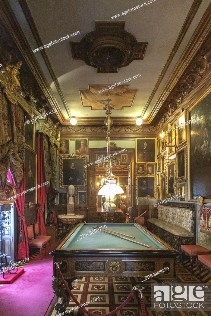 Stock Photo: billiards room in the Cerralbo museum. It houses the art and historical object collections of Enrique de Aguilera y Gamboa, Marquis of Cerralbo.