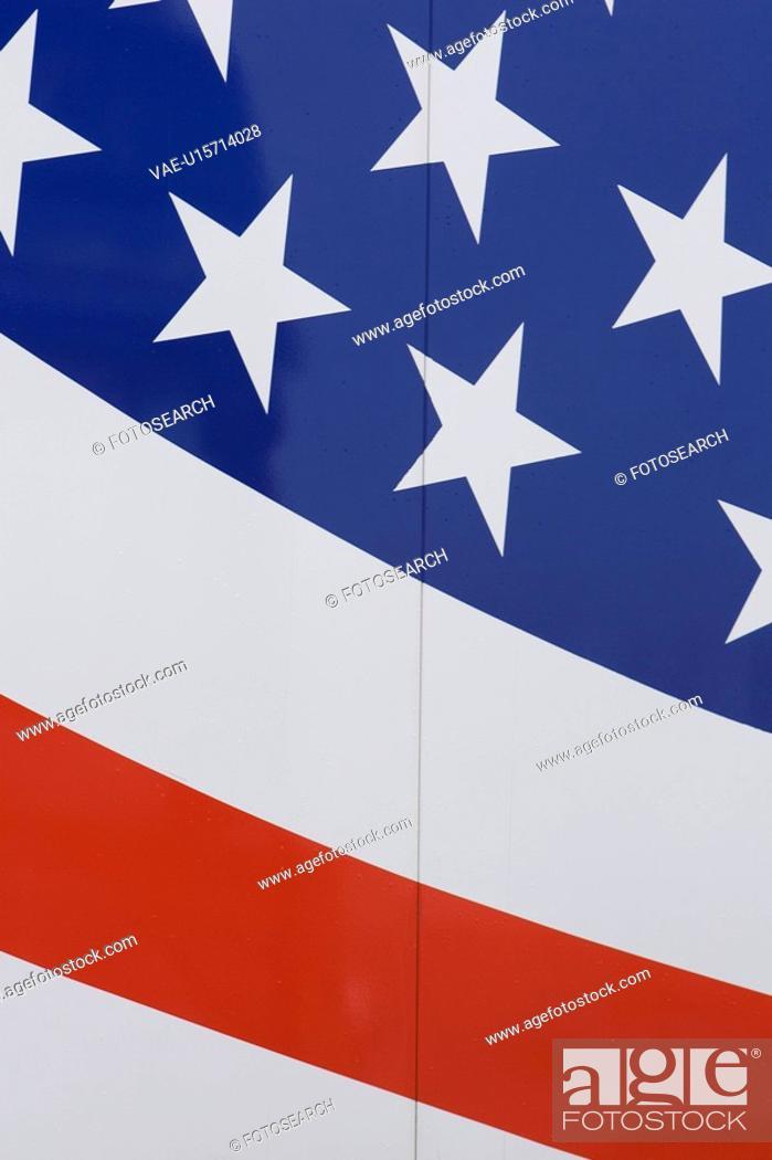 Stock Photo: Blue, Full Frame, Flag, Close-Up, American Flag.