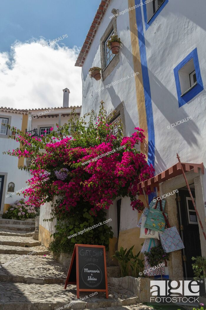 Stock Photo: Flowers and colors in the typical alleys of the ancient fortified village of Obidos Oeste Leiria District Portugal Europe.