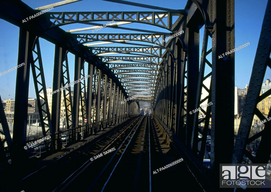 Stock Photo: Train tracks on bridge.