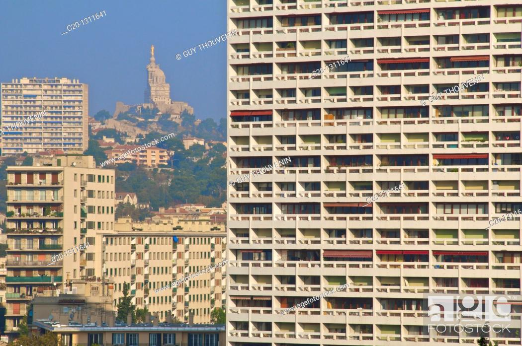Multistorey low income buildings, seen from Le Corbusier
