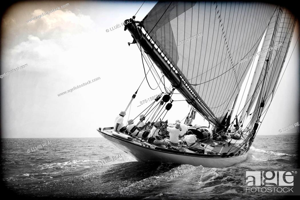 Stock Photo: Boat race, Sailing, Sailing boats, vintage boats, Menorca, Balearic Islands, Spain, Mediterranean.