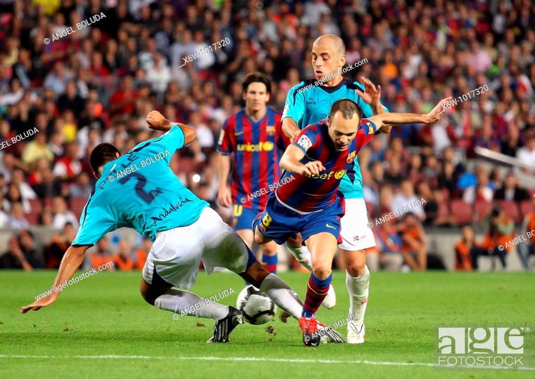 Stock Photo: Barcelona, Camp Nou Stadium, 03/10/2009, Spanish League, FC Barcelona vs. UD Almería, Andrés Iniesta.