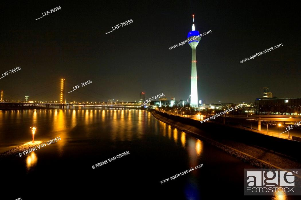 Stock Photo: Media Harbour at night with television tower in the background, Duesseldorf, state capital of NRW, North-Rhine-Westphalia, Germany.