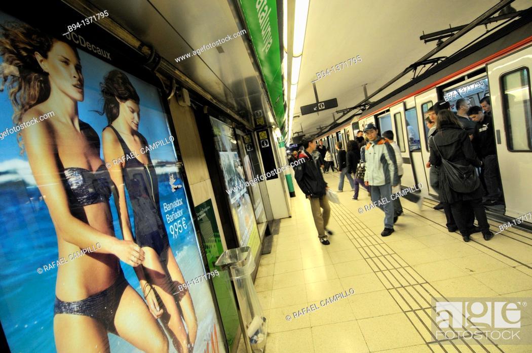 Stock Photo: Subway station, Barcelona, Catalonia, Spain.