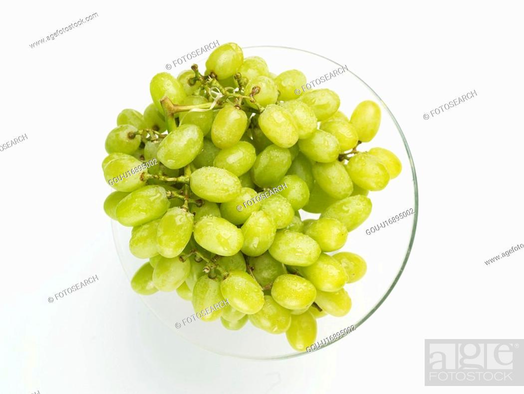 Stock Photo: grape, green grape, fruit, plants, plant, glassware.