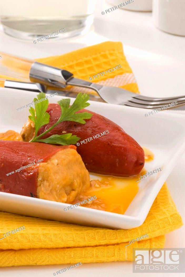 Stock Photo: Spanish Cuisine Pimientos del piquillo Stuffed sweet peppers.
