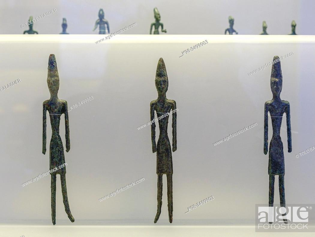 Stock Photo: male statuettes, from Byblos, bronze, middle bronze Age, Beirut National Museum, The Coliseum , Rome, Lazio, Italy , .