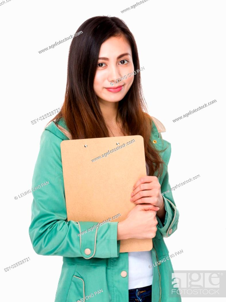 Stock Photo: Woman holding with clipboard.