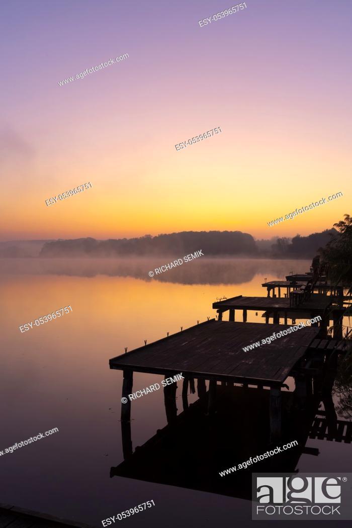 Stock Photo: Pier on Jenoi pond near Diosjeno, Northern Hungary.