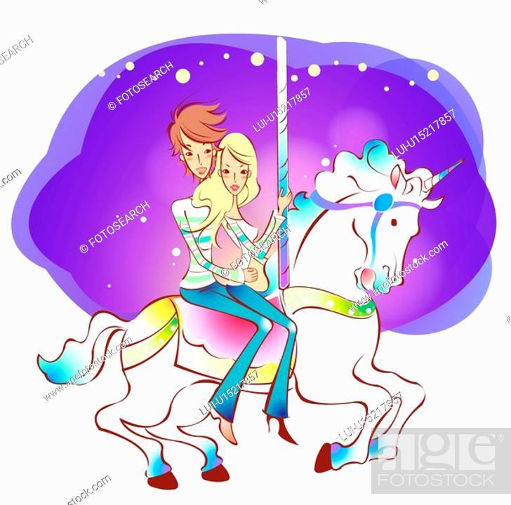 Stock Photo: riding, lover, carousel, amusement park, date, couple.
