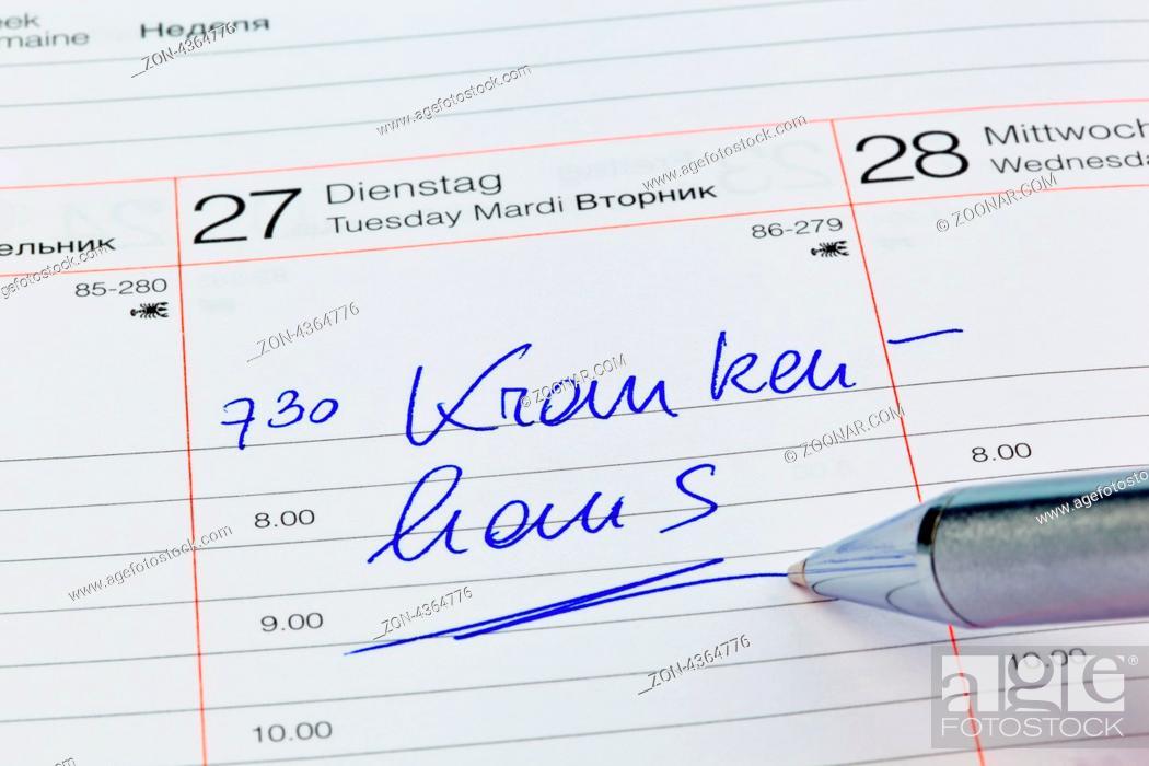 Imagen: Ein Termin ist in einem Kalender eingetragen: Krankenhaus.