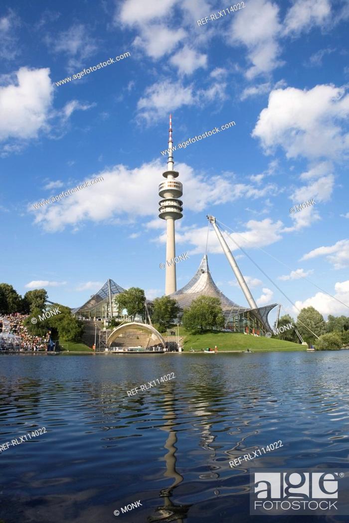Stock Photo: Olympic stadium and tower Munich, Bavaria, Germany.