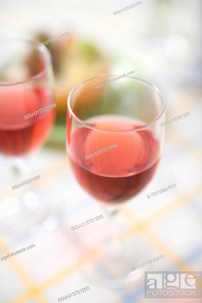 Stock Photo: 2 Glasses of red wine.