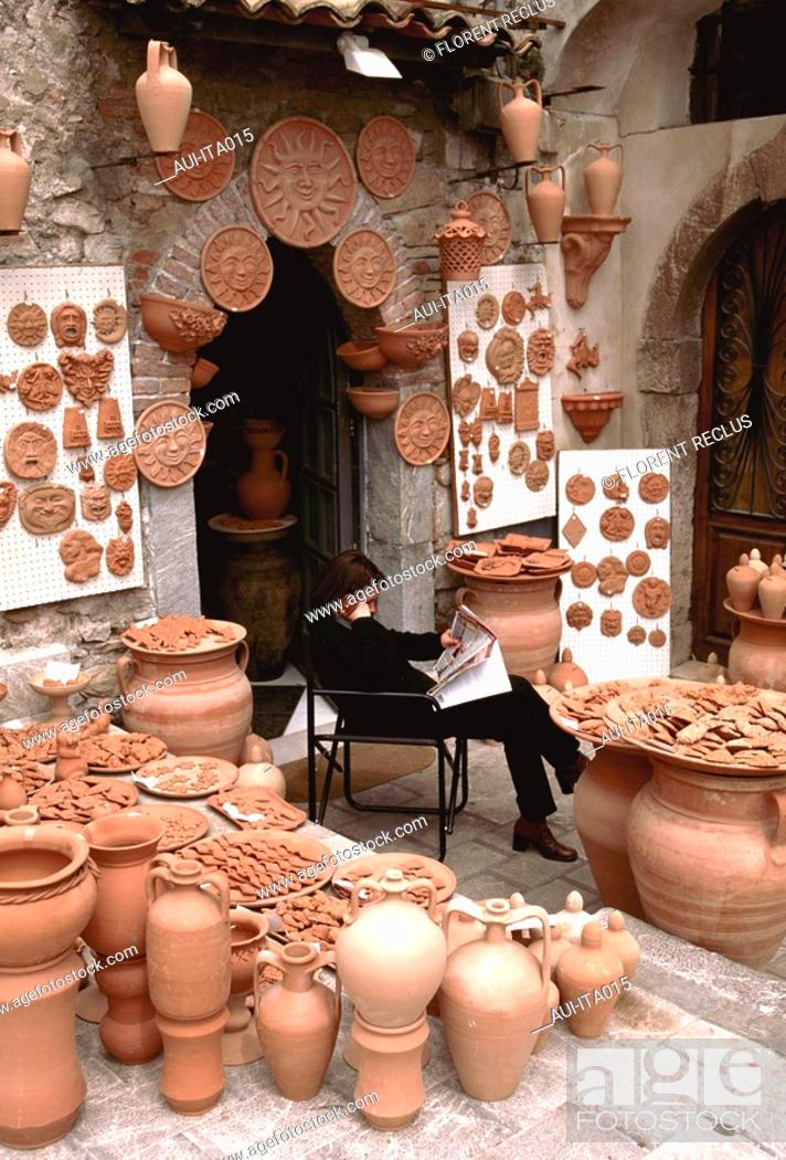 Stock Photo: Italy - Sicily - Taormina - Pottery.