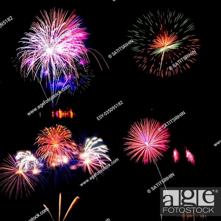 Stock Photo: colorful fireworks over dark sky background.