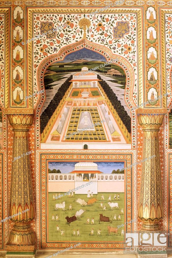 Fine Wall Painting The City Palace Jaipur Rajasthan State India