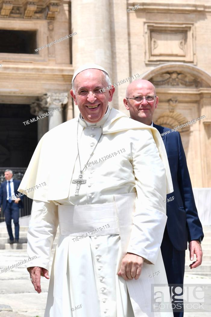 Stock Photo: Pope Francis during weekly general audience, Vatican City, Italy - 12 Jun 2019.