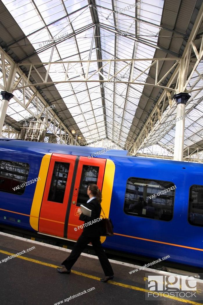 Stock Photo: City Location, Commuting, Conveyance, Day, Electric Train.