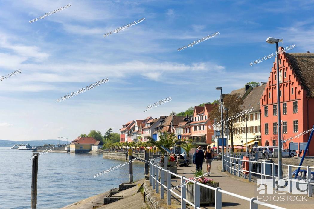 Stock Photo: Lakeside promenade, Unterstadt district, Meersburg, Lake Constance, Baden-Wuerttemberg, southern Germany, Germany, Europe.