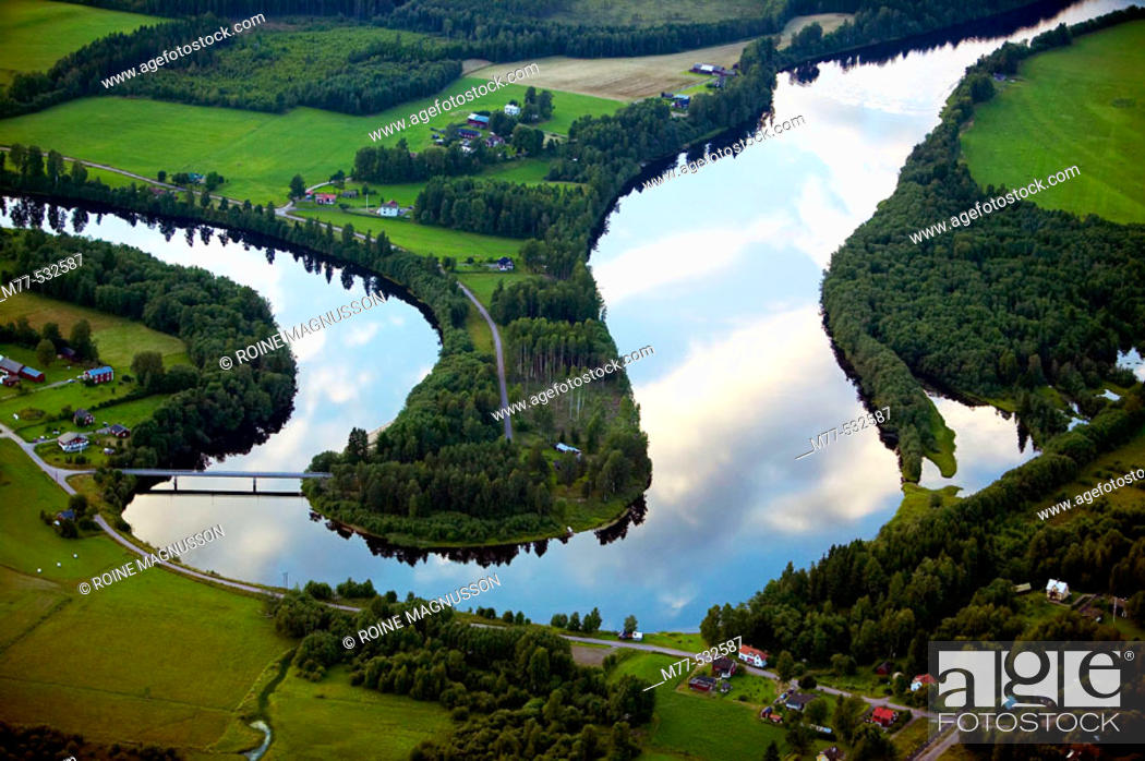 Stock Photo: River in agricultural landscape, aerial view. Klarälven. Värmland. Sweden.