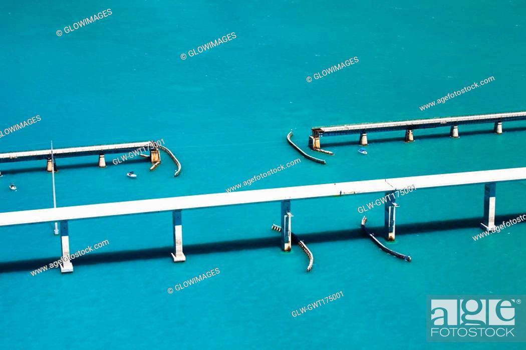 Stock Photo: High angle view of bridges over the sea, Florida Keys, Florida, USA.