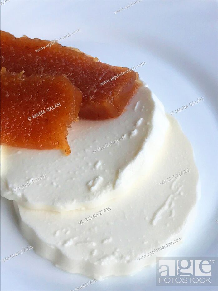 Stock Photo: Cottage cheese with quince jelly.