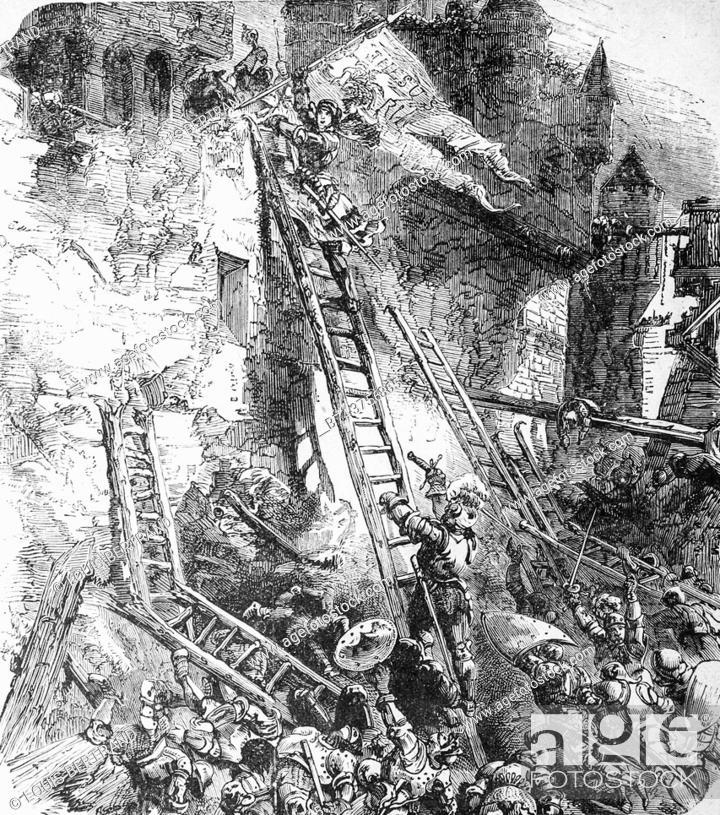 Stock Photo: Joan of Arc storms the Bastille des Tournelles 1429° , edition lahure 1881.