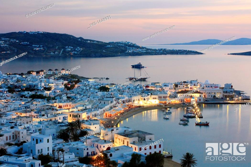 Stock Photo: Mykonos Town at Sunset, Mykonos, Cyclades, Greece.