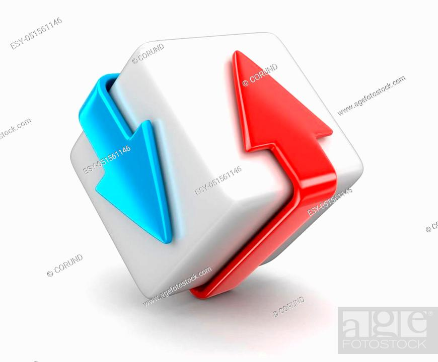 Stock Photo: Arrows around box. Image with clipping path.