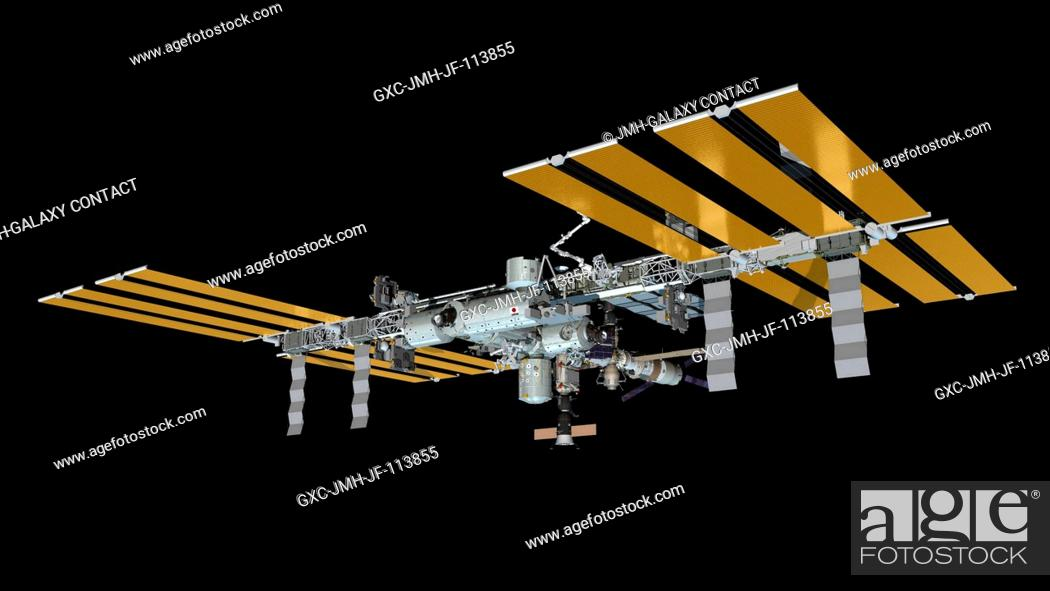 Stock Photo: Computer-generated artist's rendering of the International Space Station as of July 25, 2013. Progress 50 resupply vehicle undocks from the Pirs Docking.