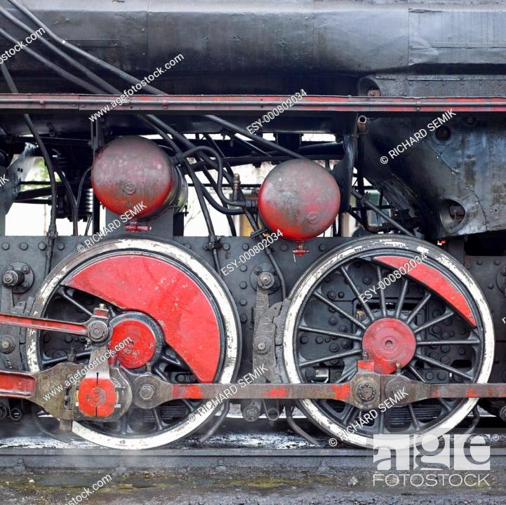 Stock Photo: detail of steam locomotive 33-326, Dubrava, Bosnia and Hercegovina.