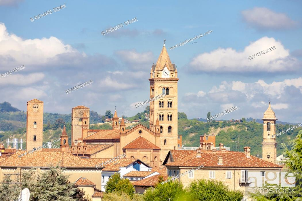 Stock Photo: medieval towers in Old City of Alba in Piedmont, Italy.