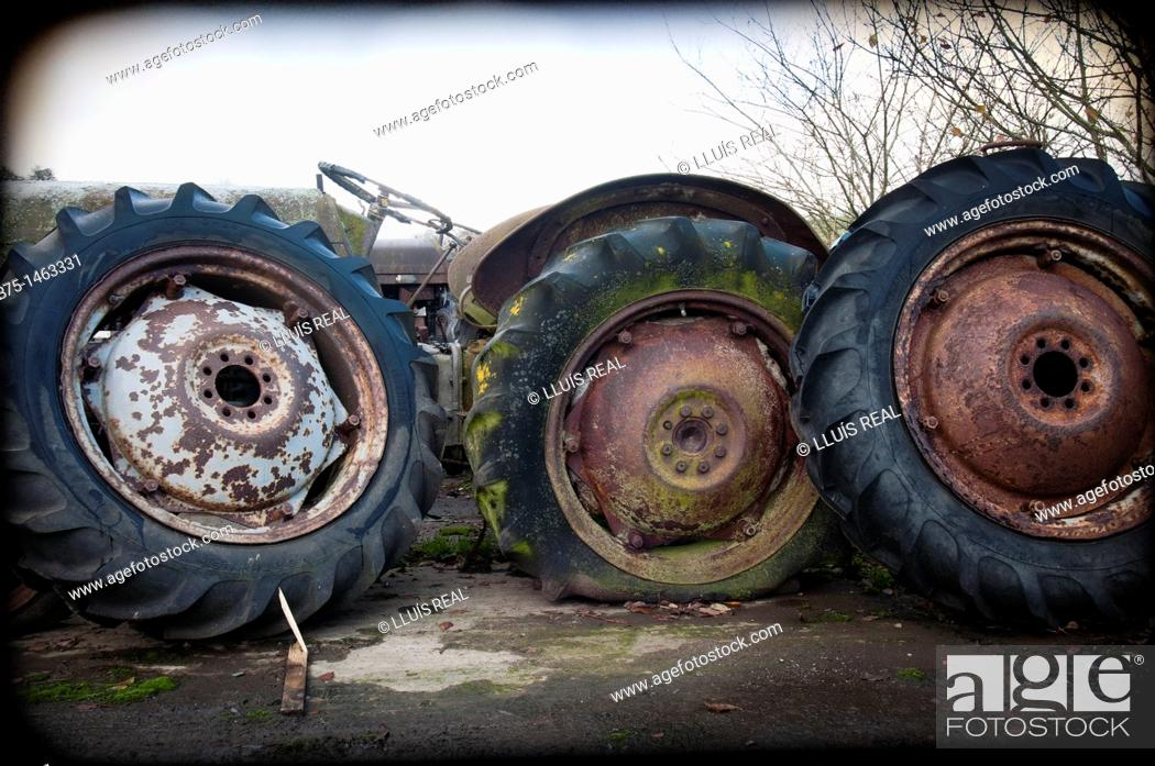 Stock Photo: Old tractor wheels.