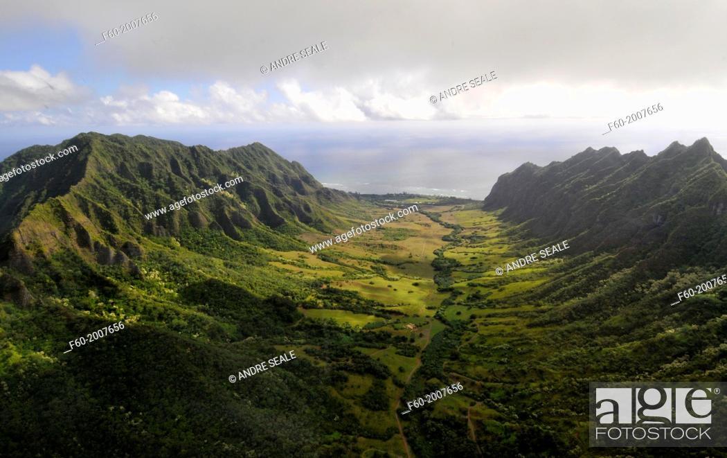 Stock Photo: Aerial view of Kualoa valley, Oahu, Hawaii, USA.