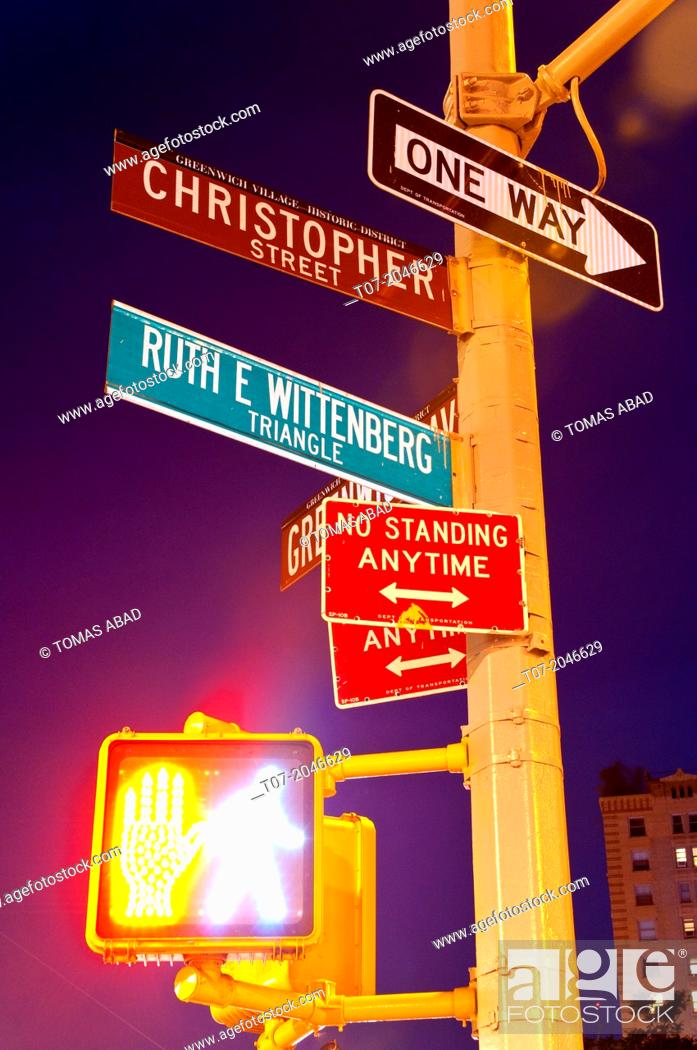 Stock Photo: Road signs, West Village, Greenwich Avenue, Lower Manhattan, New York City, New York, USA.