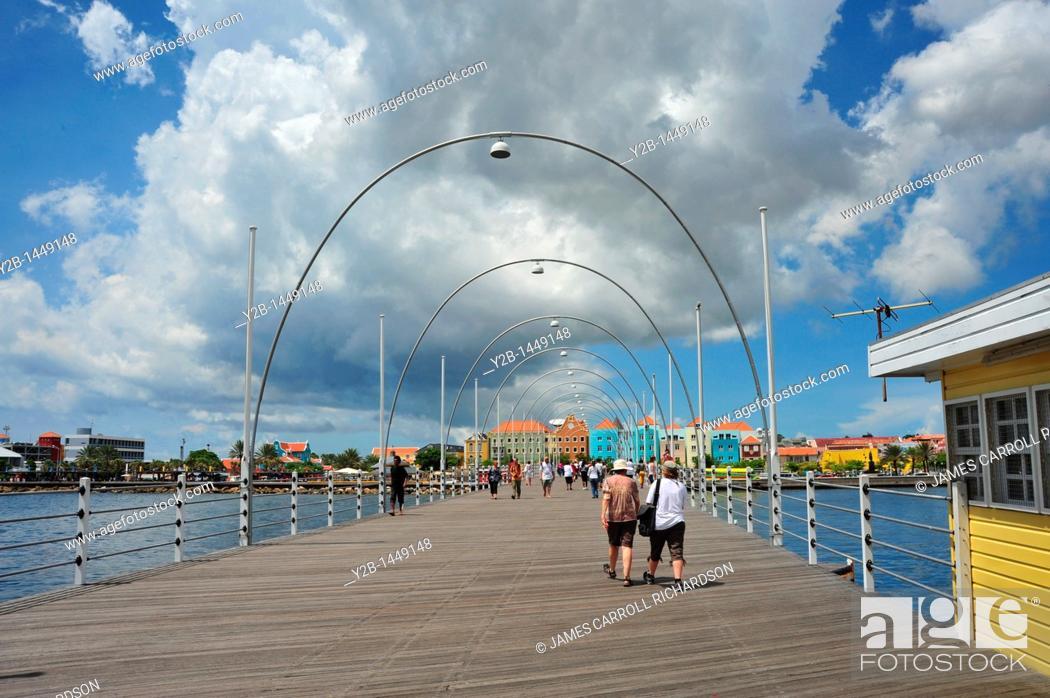 Stock Photo: Willemstad floating pedestrian bridge, Curaçao, Netherlands.