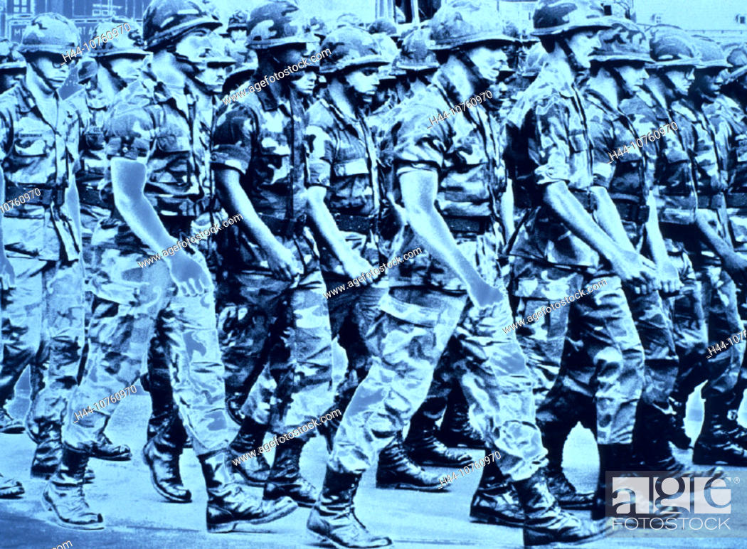 Stock Photo: 10760970, US soldier, USA, America, North America, army, military, marching, movement, blue, war, leading of war, power, pers.