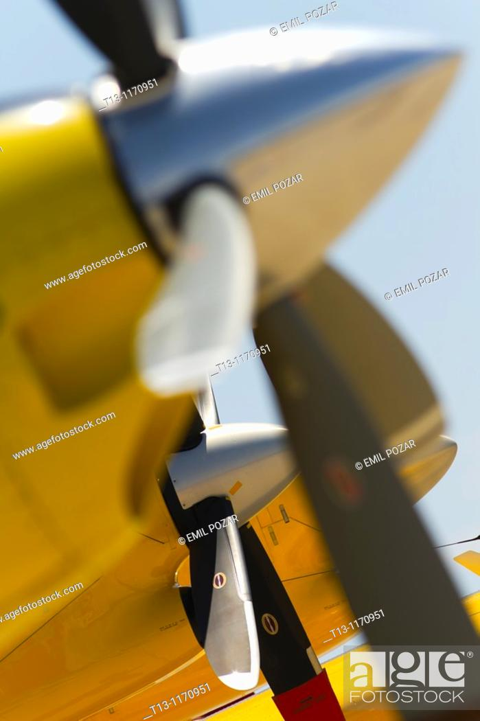 Stock Photo: Turboprop engines and propellers.