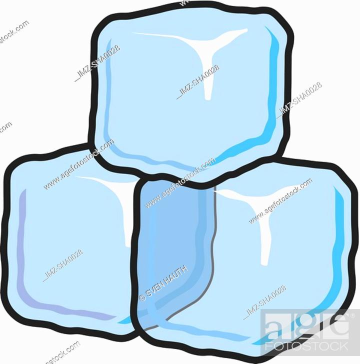 Stock Photo: An illustration of three ice cubes.
