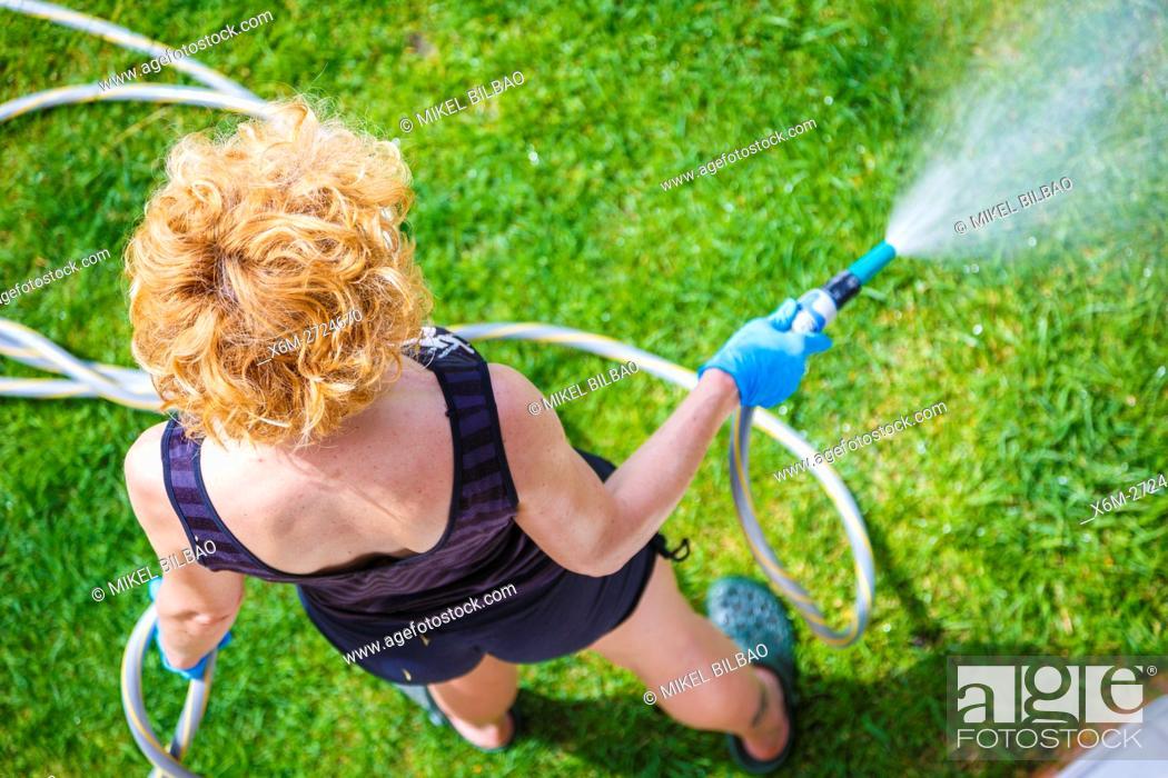 Stock Photo: Woman irrigating a garden.