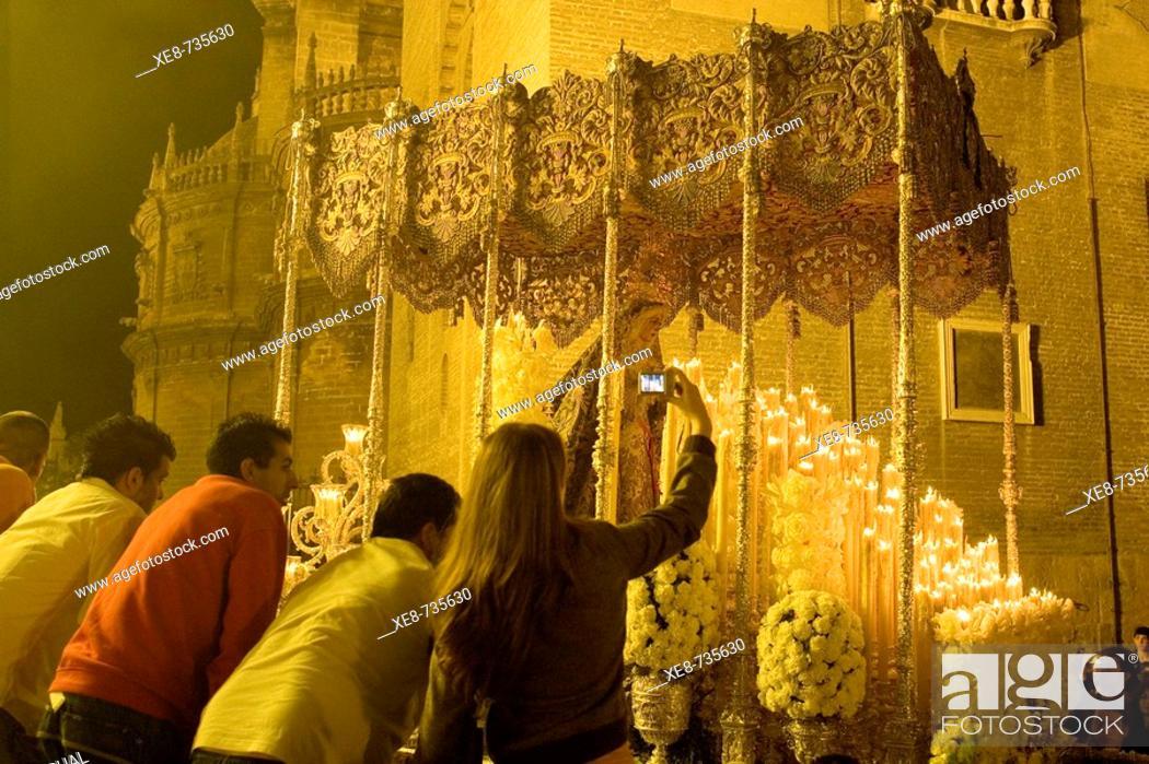 Stock Photo: Holy Week procession, Sevilla. Andalucia, Spain.