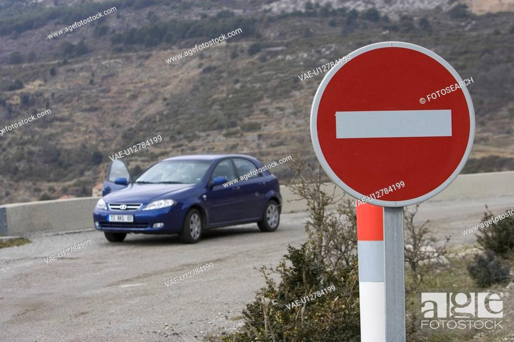 Stock Photo: Car, Circle, Day, Do Not Enter Sign, Focus On Foreground.