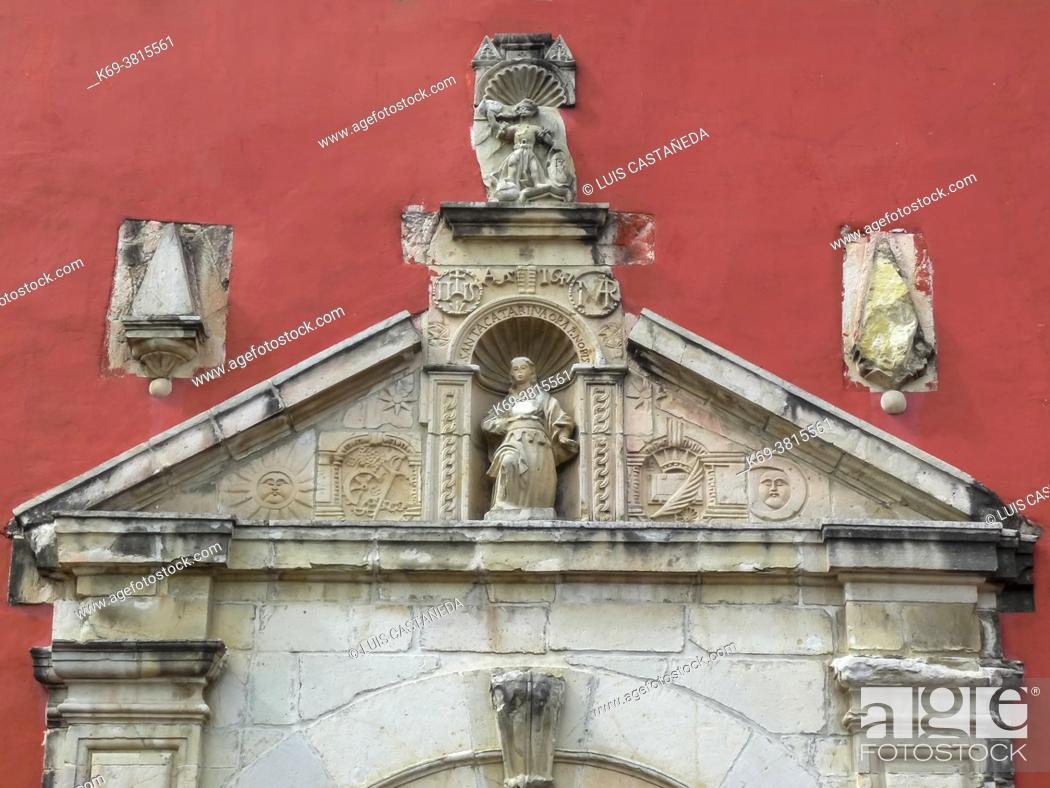 Stock Photo: Portico. Santa Catalina Colonial Church. Oaxaca. Mexico.
