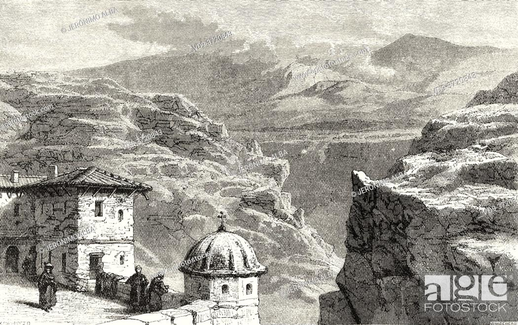 Photo de stock: Greek Orthodox Monastery of Mar Saba in Judean Desert, Israel. Old 19th century engraved illustration Travel to Jerusalem by Alphonse de Lamartine from El Mundo.