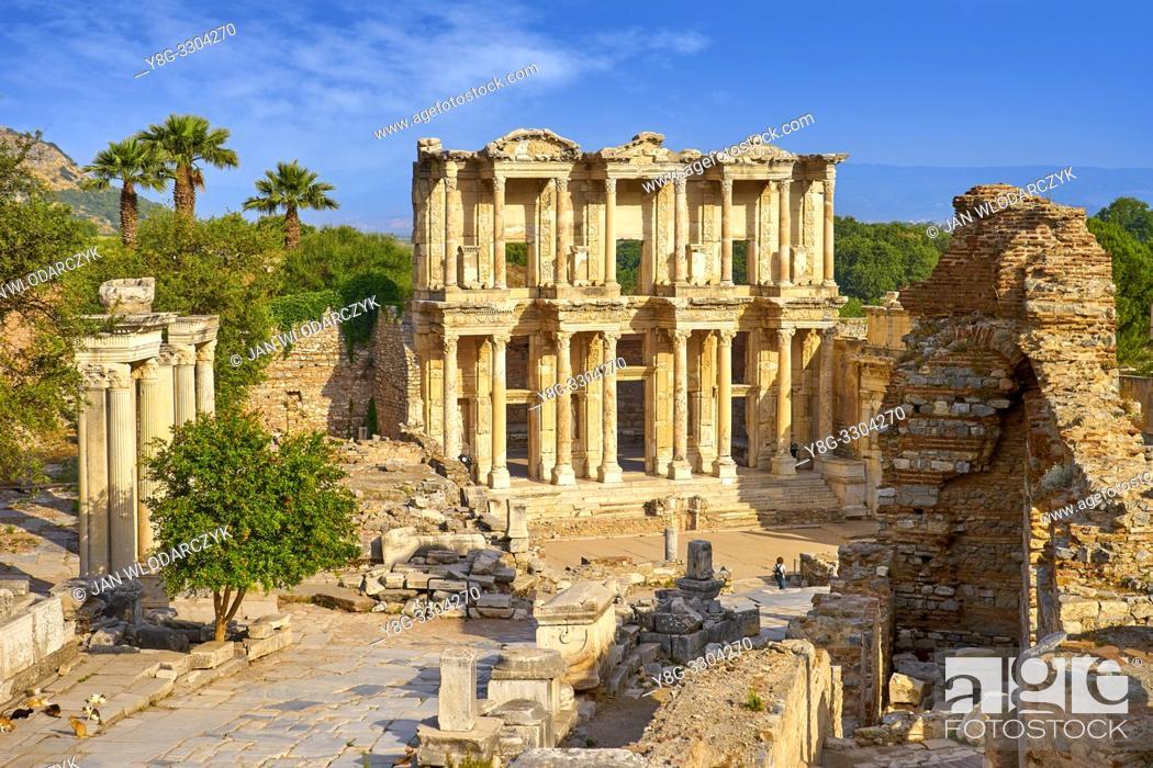 Stock Photo: Library of Celsus in Ephesus Ancient City, Izmir, Turkey.